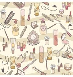 Hand drawn make up and cosmetics seamless vector image