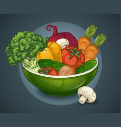 organic vegetables plate template vector image