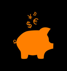 piggy bank sign with the currencies orange icon vector image