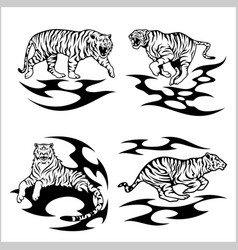 tribal tigers - set vector image vector image