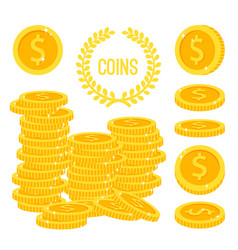 coins stacks money gold cash pile vector image vector image