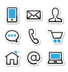 Contact web stroke icons set vector image