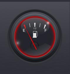 fuel gauge black car dashboard equipment on black vector image vector image