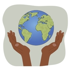 Hands of african american holding earth globe vector image vector image