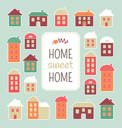 house icons home sweet home lettering quote vector image vector image