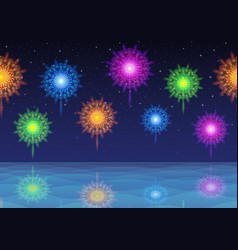 sky and sea with fireworks seamless vector image