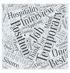 Tips On Landing Temporary Hospitality Jobs Word vector image