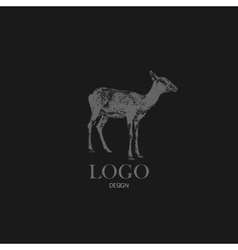 with engraving antelope or goat Logo design vector image vector image