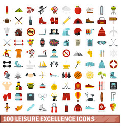 100 leisure excellence icons set flat style vector