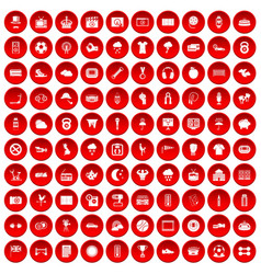 100 soccer icons set red vector