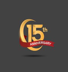 15 anniversary design logotype golden color vector