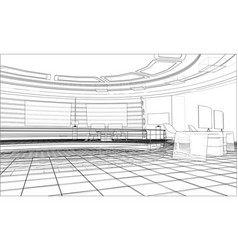 3d outline interior rendering of 3d vector image