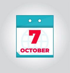 7 october daily calendar icon vector image