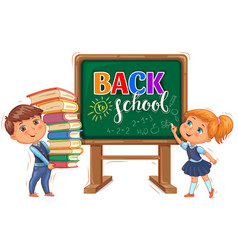 back to school inscription on the blackboard and vector image