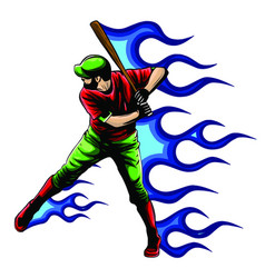 baseball player standing with bat in his vector image