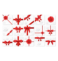 big set of realistic gift card with red bow and vector image