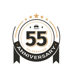 birthday vintage logo template to 55 th anniversar vector image