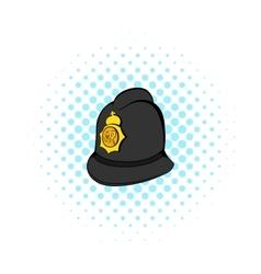British police helmet icon comics style vector image