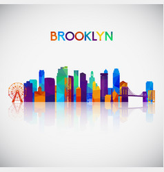 Brooklyn skyline silhouette in colorful geometric vector