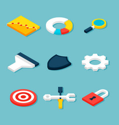 business statistics isometric objects vector image