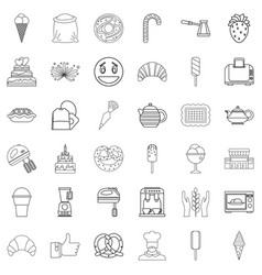 Caramel icons set outline style vector