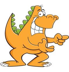 Cartoon dinosaur pointing vector