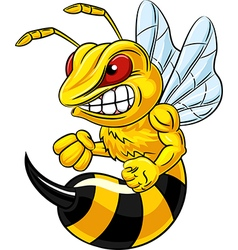 Cartoon of angry bee mascot isolated vector