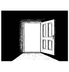 Cartoon of open wooden decision door vector