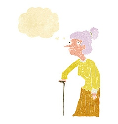 Cartoon old woman with thought bubble vector
