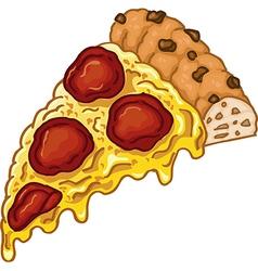 Cartoon piece of tasty pizza isolated on whit vector