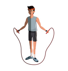 character man sport jumping rope fitness vector image