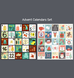 christmas advent calendars set collection vector image