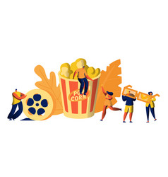 cinema movie time with popcorn and drink weekend vector image