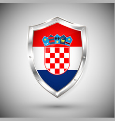 croatia flag on metal shiny shield collection of vector image