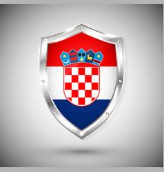 croatia flag on metal shiny shield collection vector image
