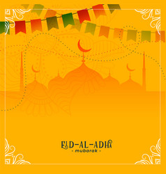 Eid al adha festival greeting with mosque vector