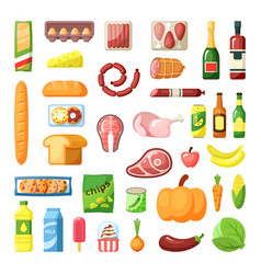 everyday supermarket food items assortment flat vector image