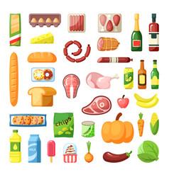 Everyday supermarket food items assortment flat vector