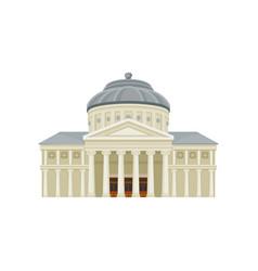 Facade of romanian athenaeum famous landmark of vector