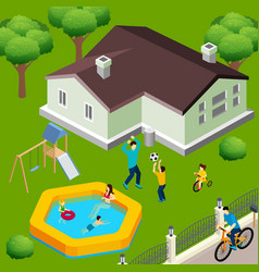 family house isometric vector image