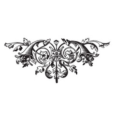 floral have a two horns vintage engraving vector image