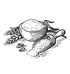 Fresh flour wooden dish scoop on white background vector