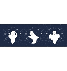 Funny ghosts flying in the night sky Halloween vector image