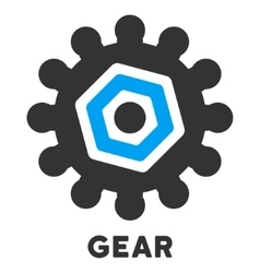 Gear Flat Icon with Caption vector
