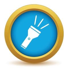 Gold flashlight icon vector image