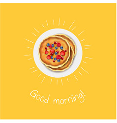 Good morning banner with pancakes vector