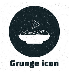 Grunge nachos in plate icon isolated on white vector