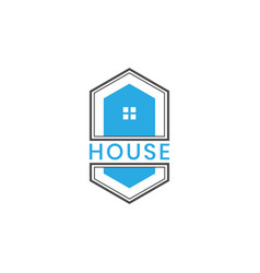 hexagonal house logo design vector image