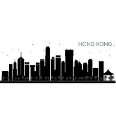 Hong kong china city skyline black and white vector