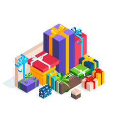 isometric pile gift boxes isolated vector image
